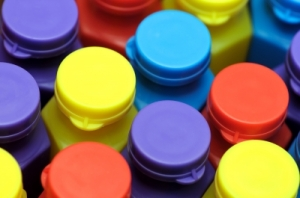coloured plastic bottle tops