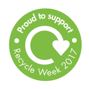 proud to support recycle week badge