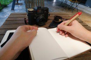 notebook, pen, camera